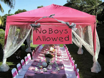 Princess party with 'no boys' sign