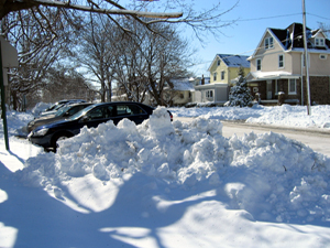 Snow bank with cars (Click to enlarge)
