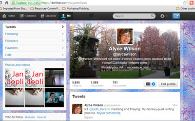Alyce's Twitter Page